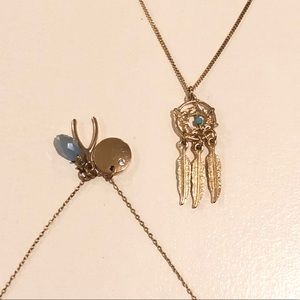 Two Boho necklaces, dream catcher and wishbone